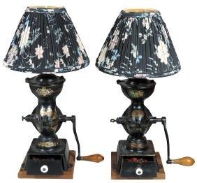 Coffee grinder lamps, matching pr of Enterprise Mfg.