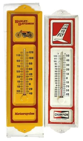Advertising thermometers (2), Harley-Davidson,