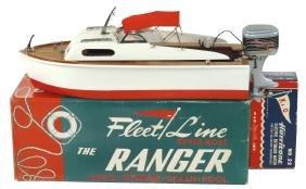 "Toy boat w/motor, Fleet Line ""The Ranger"", in orig"