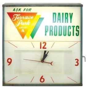 Soda fountain clock, Terrace Park Dairy Products,