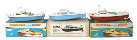 Toy boats (3), Sutcliffe Kestrel cruisers, painted