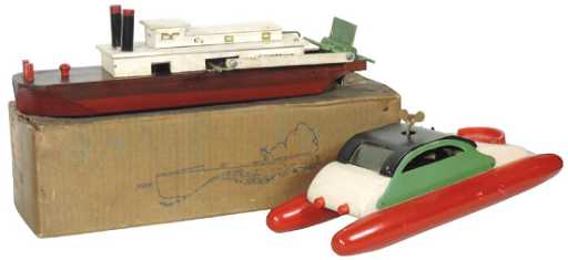 Toy boats (2), Rumalu, painted wood w/windup motor &