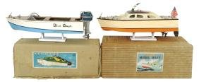 Toy boats (2), Blue Comet speedboat w/Wolf Cub outboard