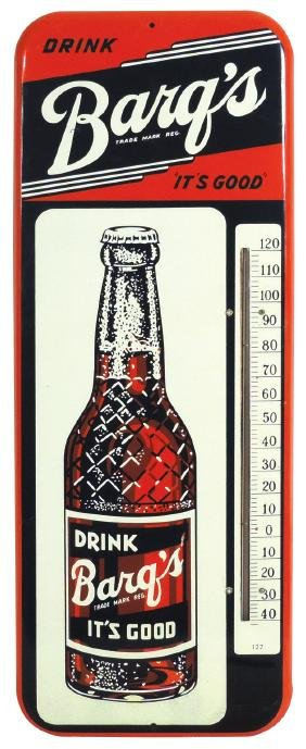 Soda fountain thermometer, Barq's, metal, mfgd by