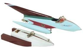 Toy boats (2), Japanese ITO rocket boats, wood, battery