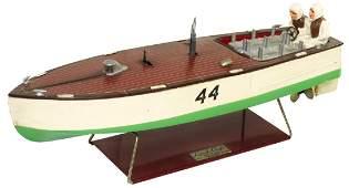 "Toy boat, Lionel-Craft ""44"" speedboat, painted metal"