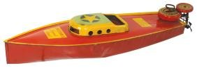 Toy boat, Lindstrom's speedboat, painted metal