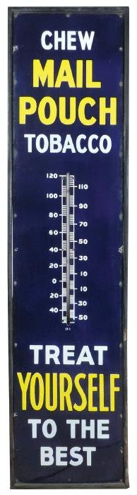 Tobacco thermometer, Mail Pouch Tobacco, porcelain in