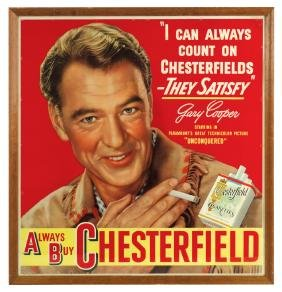 Cigarette sign, Chesterfield Cigarettes, litho on cdbd,