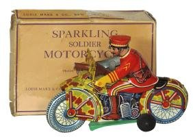 Toy motorcycle w/box, Sparkling Soldier Motorcycle,