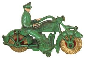"""Toy motorcycle, Hubley """"Champion"""" w/driver, police"""