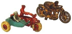 Toy motorcycles (2), Hubley police w/sidecar &