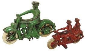 Toy motorcycles (2), Hubley tandem rider w/PDH on tank