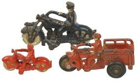 "Toy motorcycles (3), Hubley ""Champion"" w/driver,"