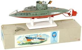 Toy boat, Arnold submarine, litho on metal w/windup
