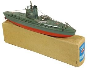 Toy boat, Arnold submarine, painted metal w/windup