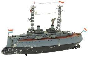 Toy boat, Bing battleship, Bavaria, painted metal