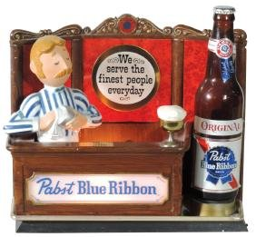 Breweriana backbar display, Pabst Blue Ribbon metal