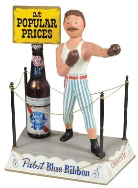 Breweriana display figure, Pabst Blue Ribbon boxer in