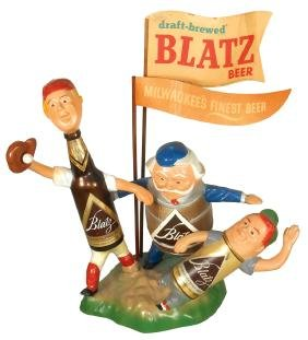 Breweriana, Blatz Beer backbar display w/baseball