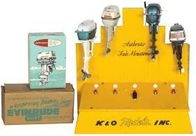 Toy boat motor orig dealer display w/4 K & O motors: