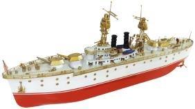 Toy boat, Orkin battleship, painted metal w/clockwork