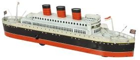 Toy boat, Japanese Queen Mary passenger ship, litho on