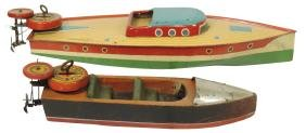 Toy boats (2), Lindstrom outboards, painted metal &