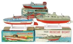 Toy boats (3), Japanese Taiyo Queen speedboat, litho on