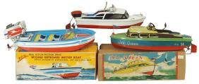 "Toy boats (3), Japanese Yonezawa ""Sea Queen"" cruiser,"