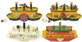 Toy boats (4), Lindstrom, ShowBoat, Golden Gate &