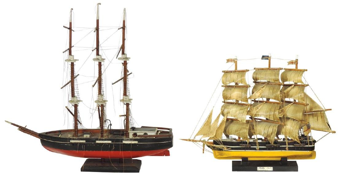 Toy boats (2), Cutty Sark model sailing ship & unknown