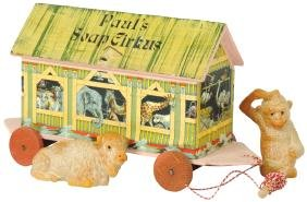 """Toy boat, Noah's Ark pull toy, """"Paul's Soap Circus"""" w/2"""