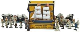 Toy boats (3), Keystone Clipper ship model,
