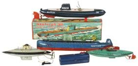 Toy boats (4), SSN Japan Nautilus submarine, litho on
