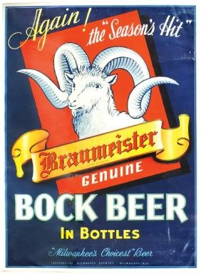 "Breweriana sign, Braumeister Bock Beer-""Milwaukee's"