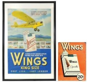 Smoking Signs (2), Wings Cigarettes, Cdbd W/airplane