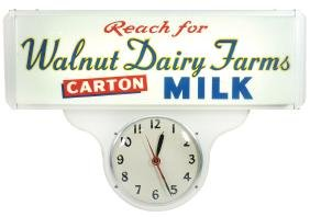 Country store clock, Walnut Dairy Farms Milk, mfgd by