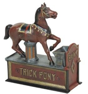 "Mechanical bank, ""Trick Pony,"" mfgd by Shepard"