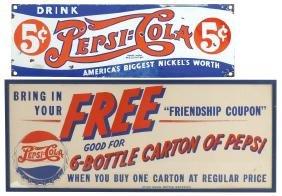 Soda fountain signs (2), Pepsi-Cola, 5 Cent double-dot