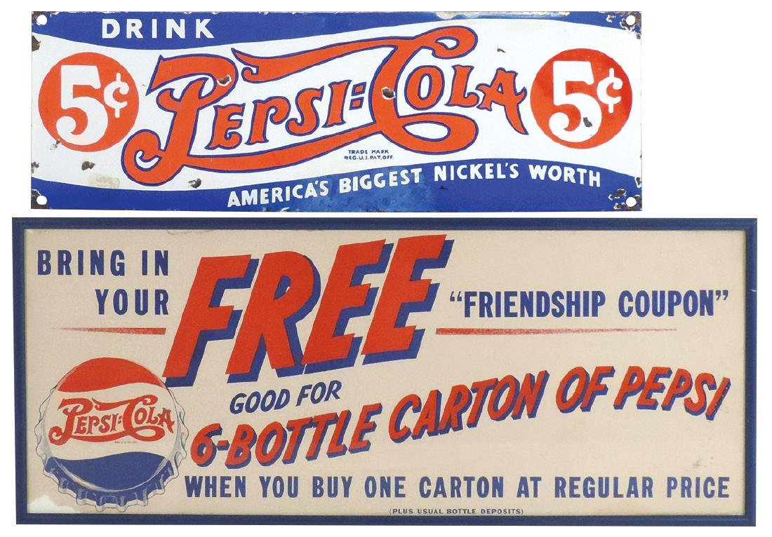 Soda fountain signs (2), Pepsi-Cola, 5 Cent double-dot