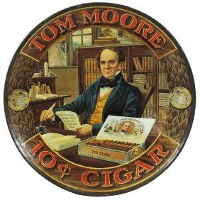 Cigar charger, Tom Moore 10 Cent Cigar, litho on metal