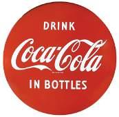 Coca-Cola button sign, Drink Coca-Cola in Bottles,