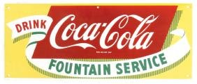 Coca-Cola Fountain Service sign, porcelain, Mint cond,
