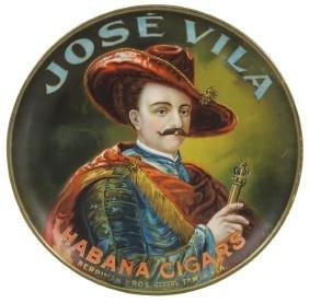 Cigar charger, Jose Vila Habana Cigars, litho on metal