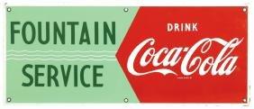 Coca-Cola Fountain Service sign, porcelain, c.1950's,