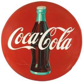Coca-Cola button sign, metal w/bottle graphic, c.1950,