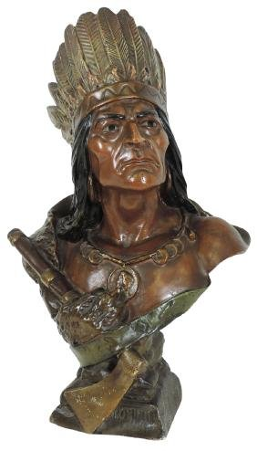 "Cigar store Indian bust, ""Iroquois"",  chalkware w/orig"