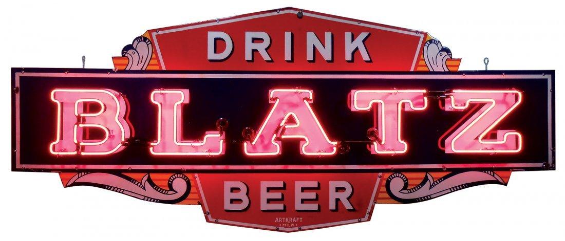 Breweriana neon sign, Blatz Beer, 4-color porcelain