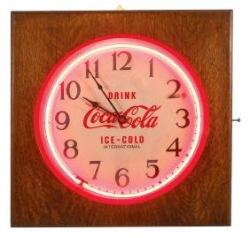 "Coca-Cola neon clock, ""Drink Coca-Cola Ice Cold"", mfgd"